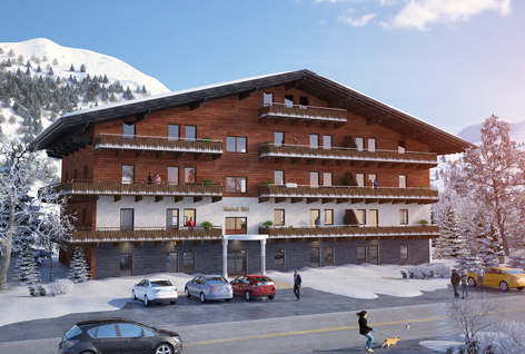 Комплекс апартаментов рядом с горнолыжным курортом на стадии строительства